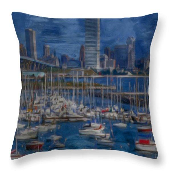 City Of Milwaukee Along Lake Michigan Throw Pillow by Jack Zulli