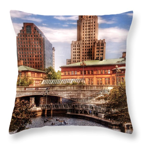 City - Providence Ri - The Skyline Throw Pillow by Mike Savad