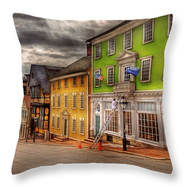 City - Providence RI - Thomas Street Throw Pillow by Mike Savad