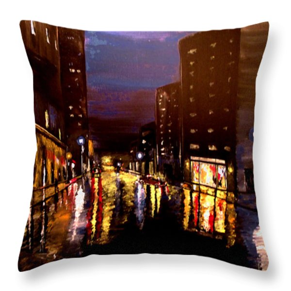 City Rain Throw Pillow by Mark Moore