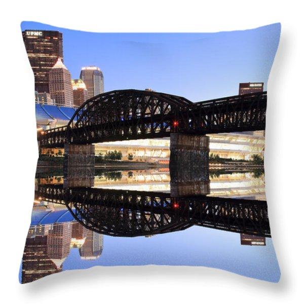 City Reflections Throw Pillow by Emmanuel Panagiotakis