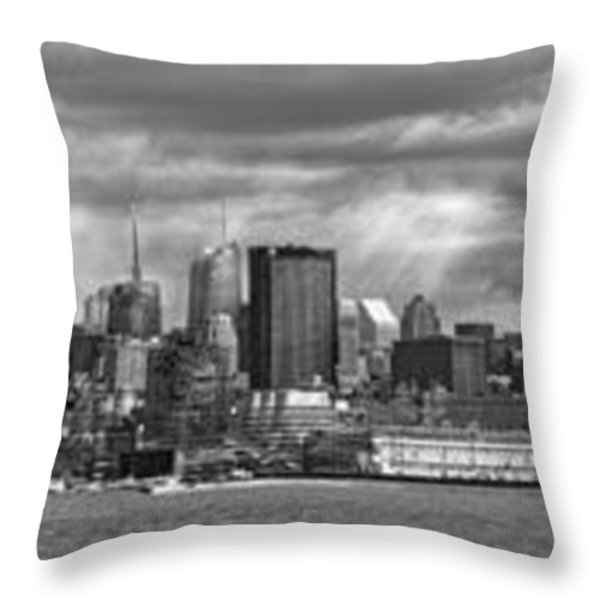 City - Skyline - Hoboken NJ - The ever changing skyline - BW Throw Pillow by Mike Savad