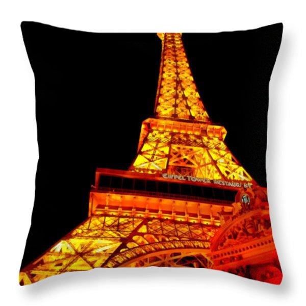 City - Vegas - Paris - Eiffel Tower Restaurant Throw Pillow by Mike Savad