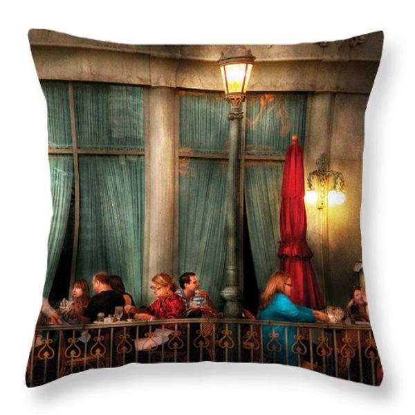 City - Vegas - Paris - The outdoor Cafe  Throw Pillow by Mike Savad