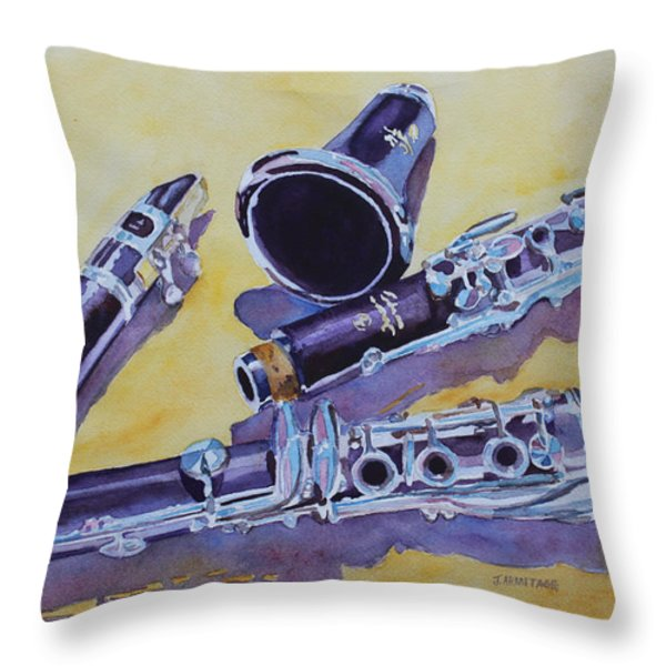 Clarinet Candy Throw Pillow by Jenny Armitage
