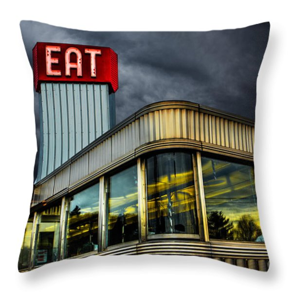 Classic American Diner Throw Pillow by Diane Diederich