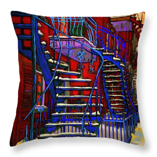 Classic Blue Winding Staircase Montreal Winter City Scene Painting  By Carole Spandau Throw Pillow by Carole Spandau