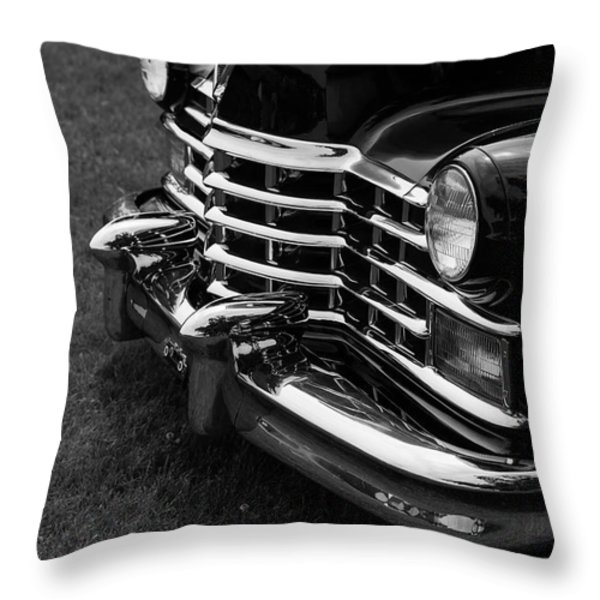 Classic Cadillac Sedan Black And White Throw Pillow by Edward Fielding