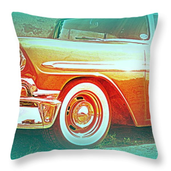 Classic car patiently waiting  Throw Pillow by Hilde Widerberg