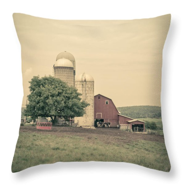 Classic Farm With Red Barn And Silos Throw Pillow by Edward Fielding