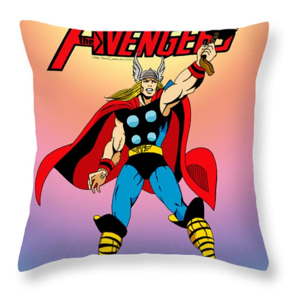 Classic Mighty Thor Throw Pillow by Mista Perez Cartoon Art