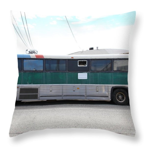 Classic Retro Greyhound Bus 5d25256 Throw Pillow by Wingsdomain Art and Photography