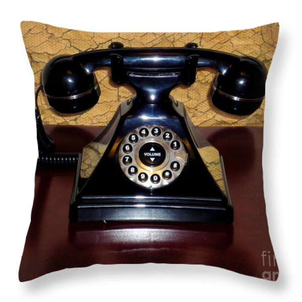 Classic Rotary Dial Telephone Throw Pillow by Mariola Bitner