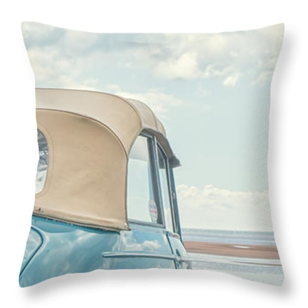 Classic Vintage Morris Minor 1000 Convertible at the beach Throw Pillow by Edward Fielding