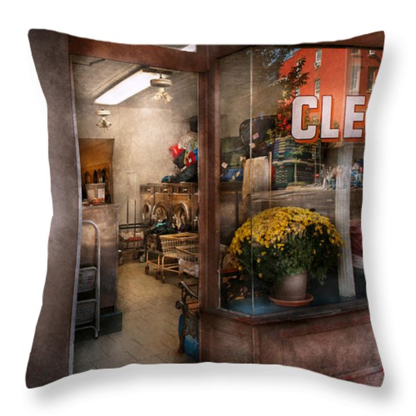 Cleaner - Ny - Chelsea - The Cleaners Throw Pillow by Mike Savad