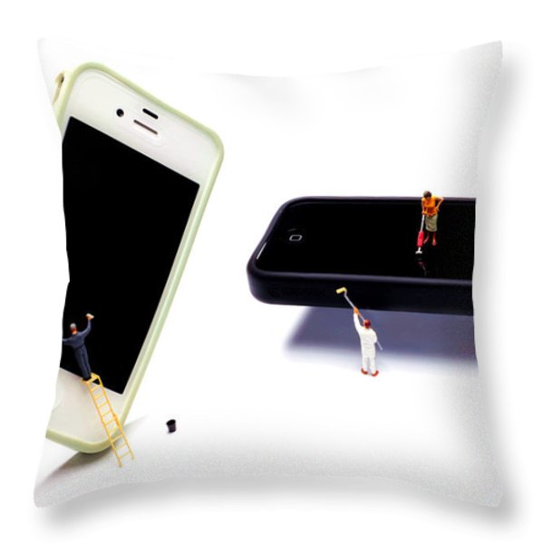 Cleaning the Iphones Little people big worlds Throw Pillow by Paul Ge