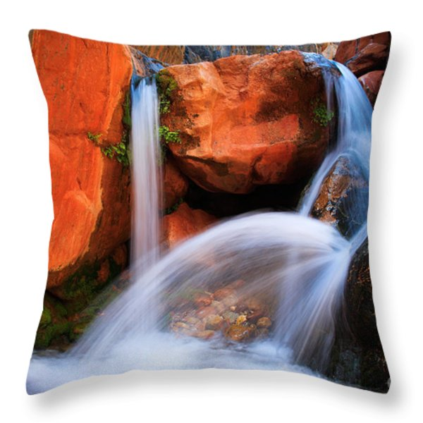 Clear Creek Falls Throw Pillow by Inge Johnsson