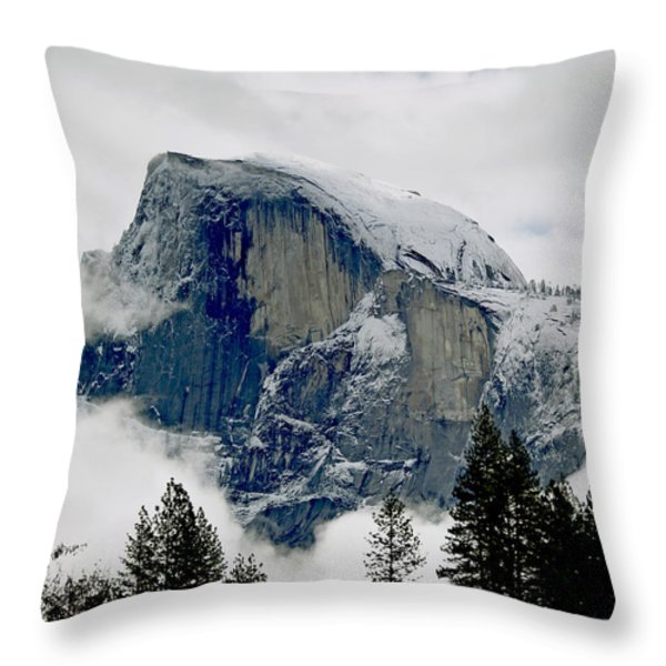 Clearing Storm Around Half Dome Throw Pillow by Bill Gallagher