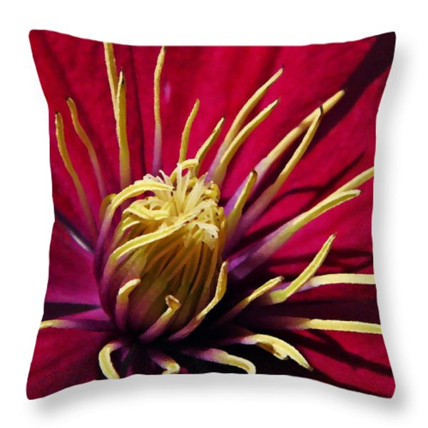 Clematis Center in Oils Throw Pillow by Chris Berry
