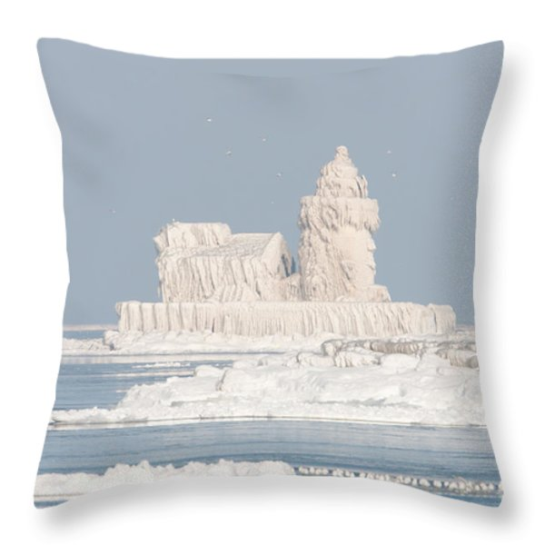 Cleveland Harbor West Pierhead Light II Throw Pillow by Clarence Holmes