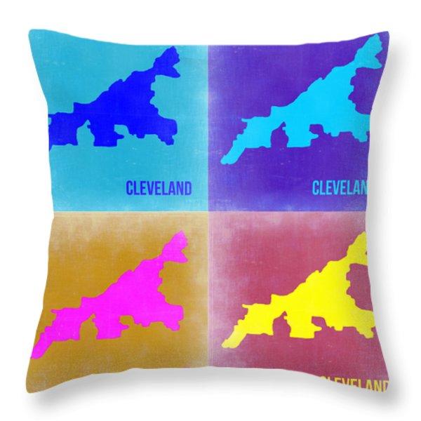 Cleveland Pop Art Map 2 Throw Pillow by Naxart Studio