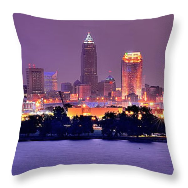 Cleveland Skyline at Night Evening Panorama Throw Pillow by Jon Holiday