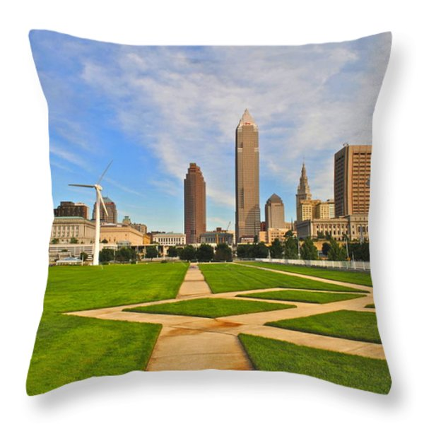 Cleveland Skyline Throw Pillow by Frozen in Time Fine Art Photography