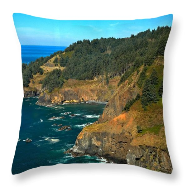 Cliffs At Cape Foulweather Throw Pillow by Adam Jewell