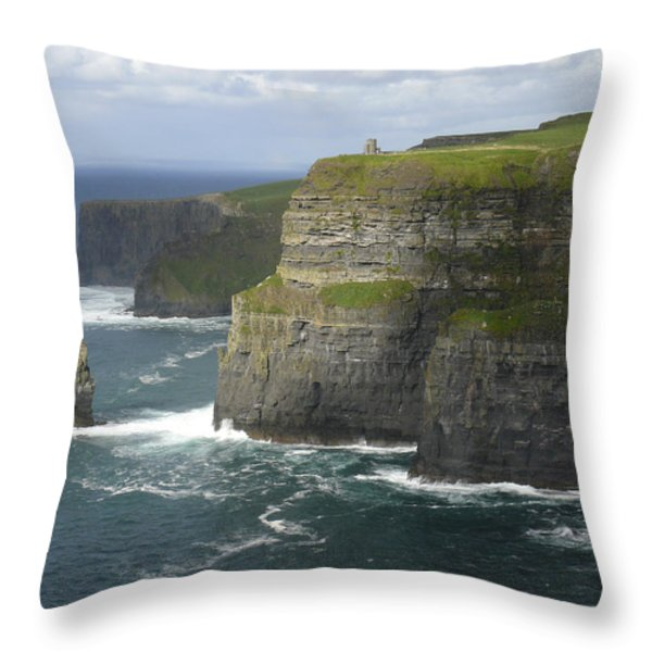 Cliffs of Moher 2 Throw Pillow by Mike McGlothlen