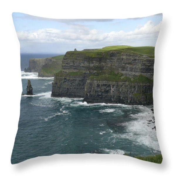 Cliffs Of Moher 3 Throw Pillow by Mike McGlothlen
