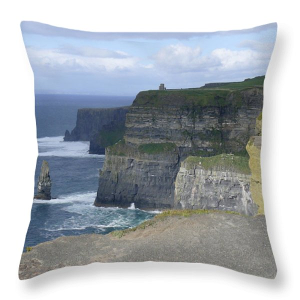 Cliffs of Moher 4 Throw Pillow by Mike McGlothlen