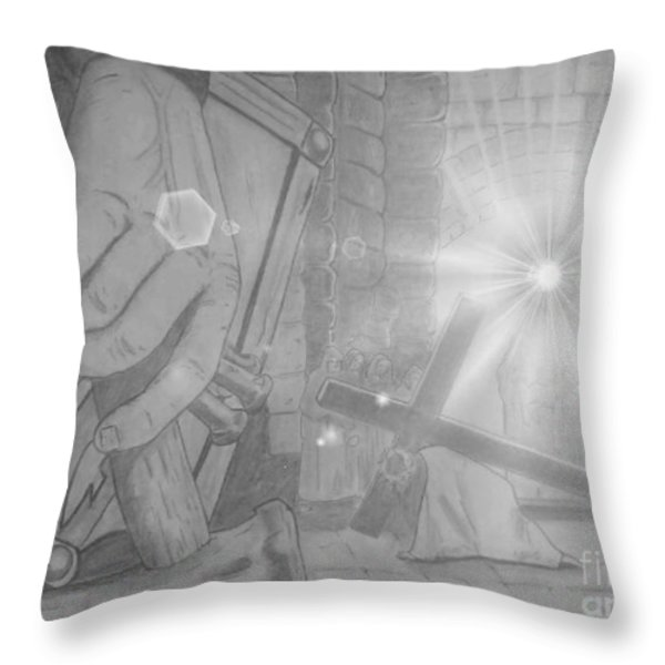 Clinging To The Cross Lights Throw Pillow by Justin Moore