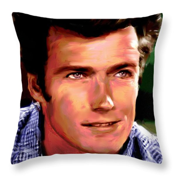 Clint Eastwood Throw Pillow by Allen Glass
