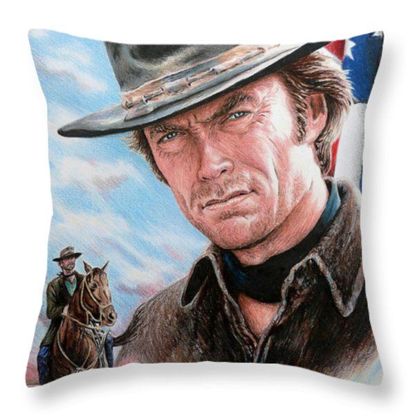 Clint Eastwood American Legend Throw Pillow by Andrew Read