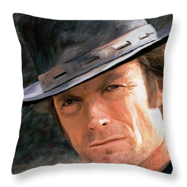 Clint Eastwood Throw Pillow by James Shepherd