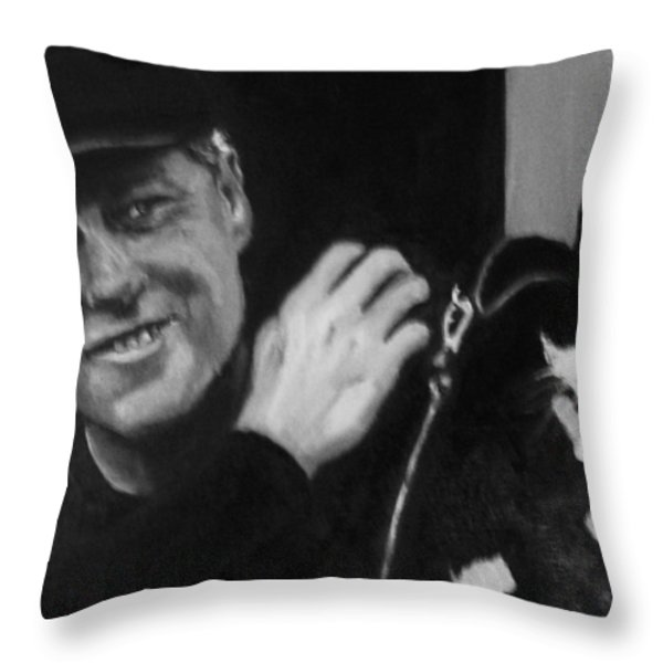 Clinton and Socks Throw Pillow by Martha Suhocke