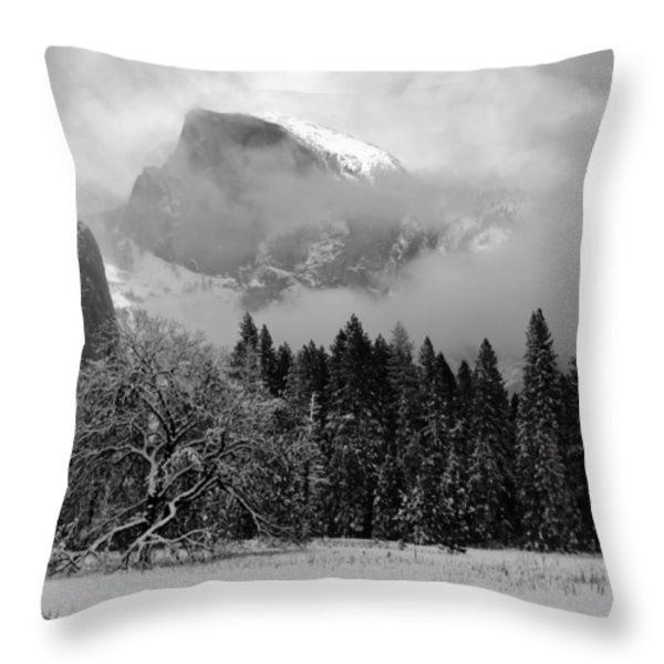 Cloaked In A Snow Storm - Monochrome Throw Pillow by Heidi Smith
