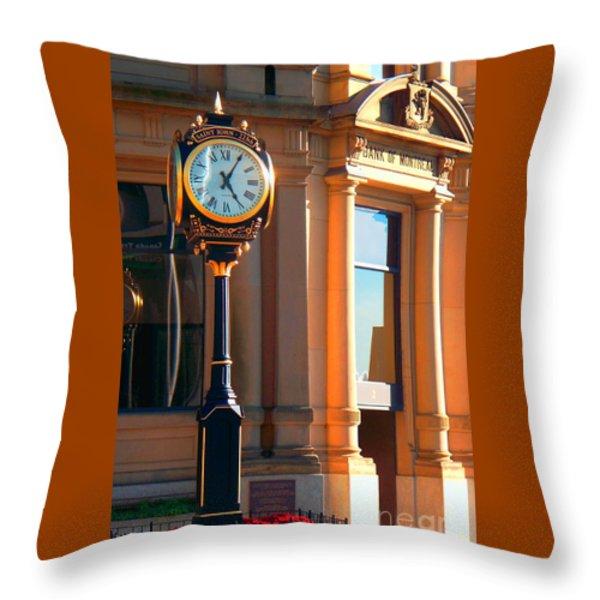 Clock Of New Brunswick Throw Pillow by Gena Weiser