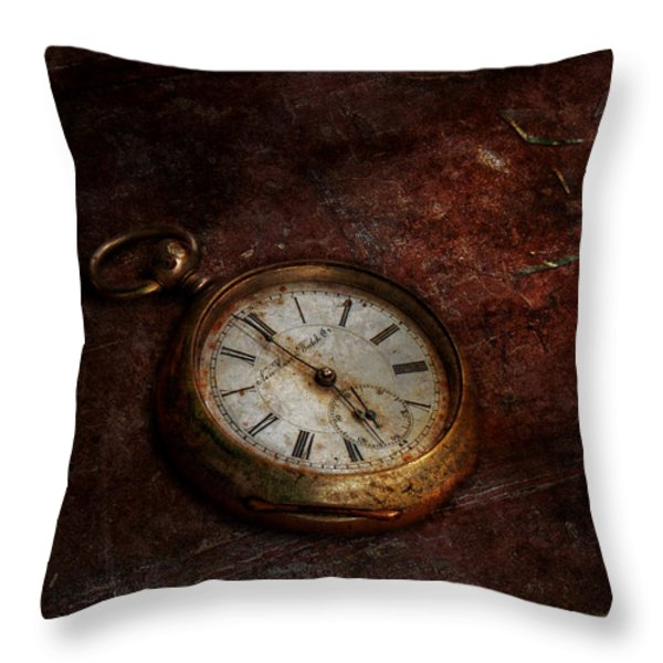Clock - Time waits Throw Pillow by Mike Savad