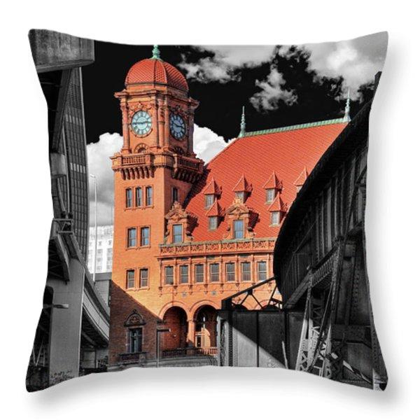 Clock Tower Throw Pillow by Tim Wilson