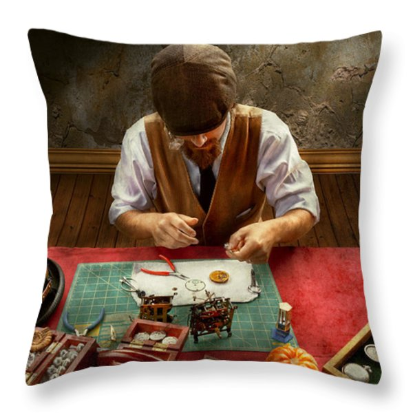 Clockmaker - A Demonstration In Horology Throw Pillow by Mike Savad