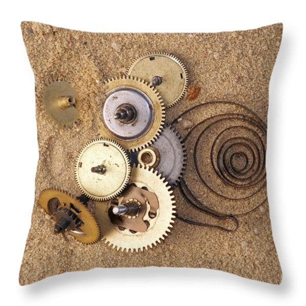 Clockwork Mechanism On The Sand Throw Pillow by Michal Boubin