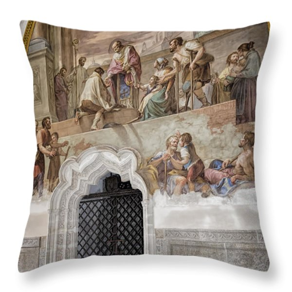 Cloister Fresco Throw Pillow by Joan Carroll