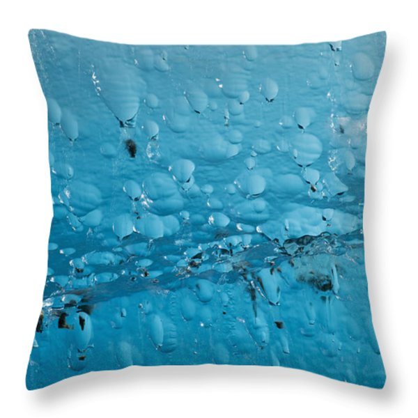 Close Up Of Air Bubbles In Iceberg Throw Pillow by Ray Bulson