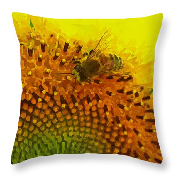 Close up of bee on sunflower 1 Throw Pillow by Lanjee Chee