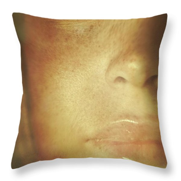 Close-up Of  Woman's Face In Dreamlike State Throw Pillow by Sandra Cunningham