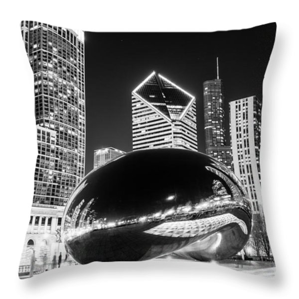 Cloud Gate Chicago Bean Black And White Picture Throw Pillow by Paul Velgos