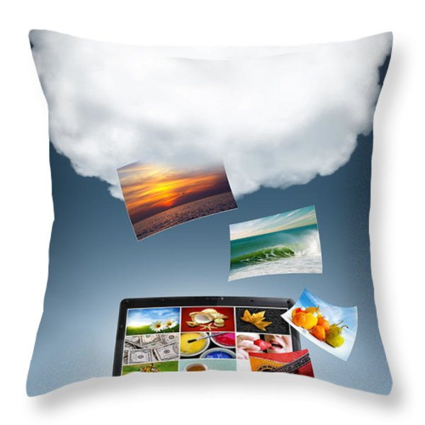 Cloud Technology Throw Pillow by Carlos Caetano