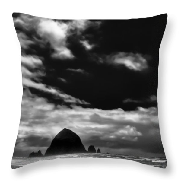 Clouds over Haystack Rock on Cannon Beach Throw Pillow by David Patterson