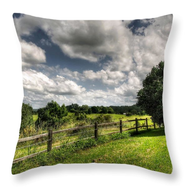 Cloudy Day In The Country Throw Pillow by Kaye Menner